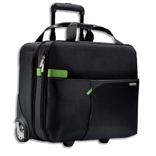 Code 319892, Désignation: LEITZ Trolley cabine Inch carry-on 15,6 2 compartiments, fixation pour valise - L43 x H37 x P20 cm Noir
